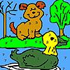 Alone dog and duck colori…